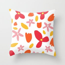 Pink Flowers and Petals Throw Pillow