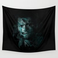 castiel Wall Tapestries featuring Splatter Castiel by Redtide