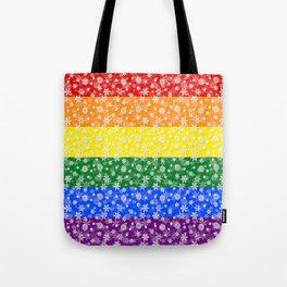 Christmas Pride Bright Festive Rainbow Snowflakes Tote Bag