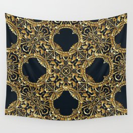 Black Gold Rococo Pattern Wall Tapestry