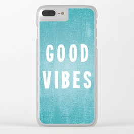 Beachy Aqua Blue/Green and White Distressed Print Effect Good Vibes Clear iPhone Case