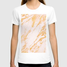Gold Marble - Shimmery Glittery Rose Gold Marble Metallic T-shirt
