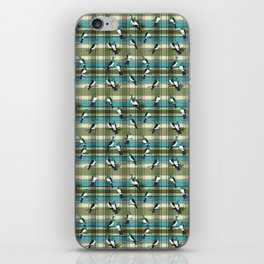 Kereru on green and turquoise plaid iPhone Skin