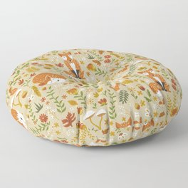 Foxes with Fall Foliage Floor Pillow