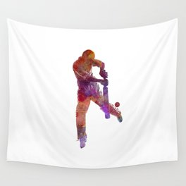 Cricket player batsman silhoutte Wall Tapestry