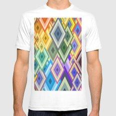 geometric colour Mens Fitted Tee MEDIUM White
