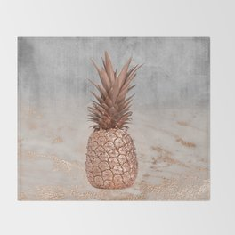 Pineapple in Glitter Marble Rose Gold And Concrete Throw Blanket