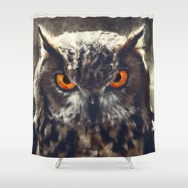 owl look digital painting orcfn Shower Curtain