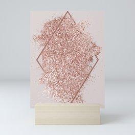 Rose Gold Glitter Geometric Mini Art Print