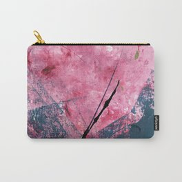 Orchid: a bright abstract mixed media piece in blue, pink, and, black Carry-All Pouch