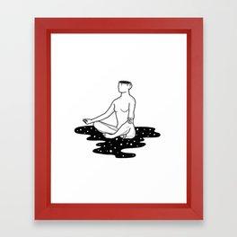 Space Girl Does Yoga Framed Art Print