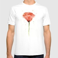 Poppy Watercolor Abstract Red Flower Mens Fitted Tee MEDIUM White