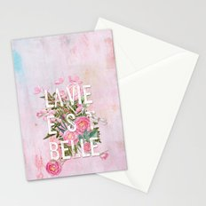 LAVIE EST BELLE - Watercolor - Pink flowers roses - rose flower on #Society6 Stationery Cards