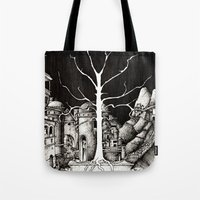 gondor Tote Bags featuring The dark plague by Anca Chelaru