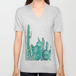 green cactus jungle watercolor Unisex V-Neck