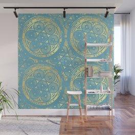 flower power: variations in aqua & gold Wall Mural