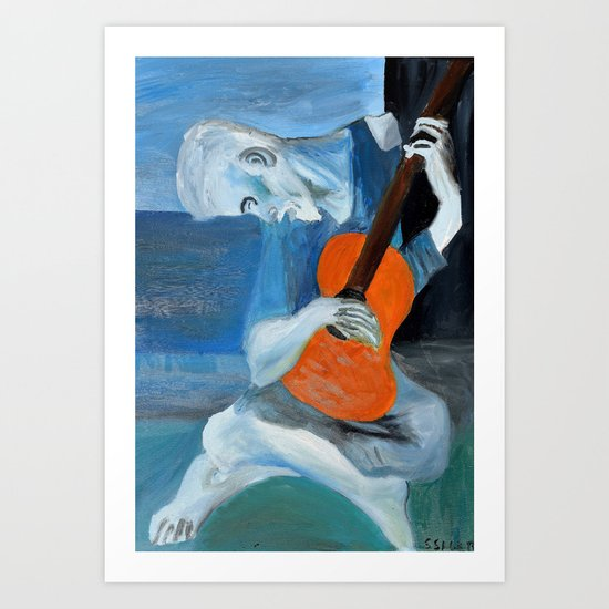 Picasso's Blue Mn with Guitar  Art Print