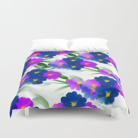 Abundance Of Painted Flowers Duvet Cover