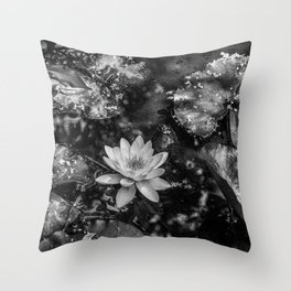 Water lily in a pond Throw Pillow