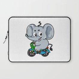 Cute Elephant on a Bicycle Bike Cartoon Comic Gift Laptop Sleeve
