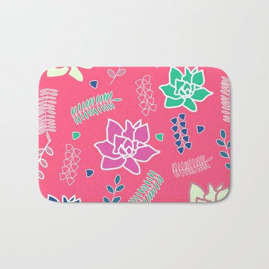 Floral ornament in pink Bath Mat