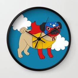Lucha Libre Pug Wall Clock