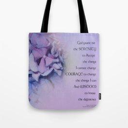 Serenity Prayer Hydrangeas Harmony Lavender Tote Bag
