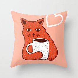 Peach Coffee Kitten Throw Pillow