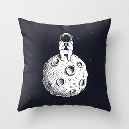 Astronaut with Mobile Phone on Moon Throw Pillow