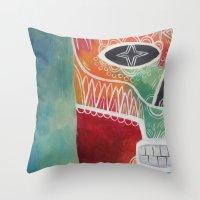 calavera Throw Pillows featuring Calavera 1 by Santiago Uceda