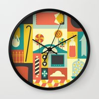 charlie Wall Clocks featuring Charlie by Ariel Wilson