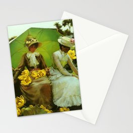 Spectacular 'Yellow Lotus Lilies' Floral Lily Pond portrait painting Charles Courtney Curran Stationery Cards