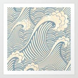 Abstract great waves vintage illustration pattern Art Print