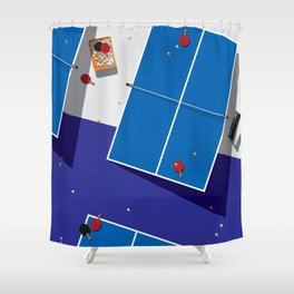 PINGPONG_BL Shower Curtain