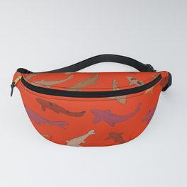 Koi carp. Brown orange yellow black outline on red background Fanny Pack
