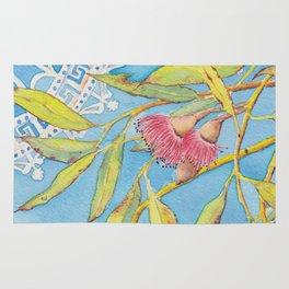 Goldfields Filigree - watercolour of eucalyptus & ironwork Rug