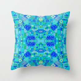 Boho Patchwork in Cool Tones Throw Pillow
