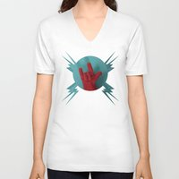 heavy metal V-neck T-shirts featuring Heavy Metal Oven Mitt by John Magnet Bell