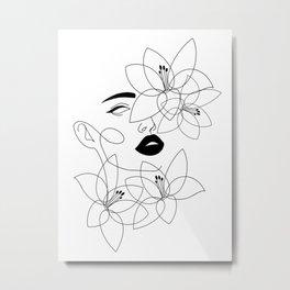 Female Face In Flowers Line Art Metal Print
