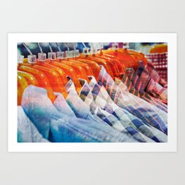 Casual shirts - texture photo with a retro filter applied Art Print