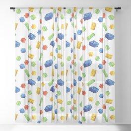 Building Blocks Pattern Sheer Curtain
