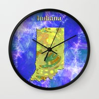 indiana Wall Clocks featuring Indiana Map by Roger Wedegis