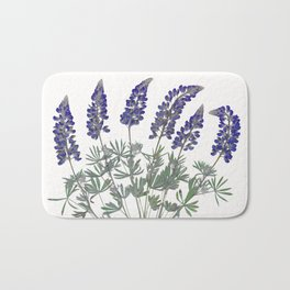 Pressed Lupine Flowers Bouque Bath Mat