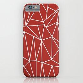 Geometric Cobweb (White & Maroon Pattern) iPhone Case