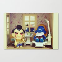 dentist Canvas Prints featuring Nightmare at the Dentist by Arwan Mauriattama