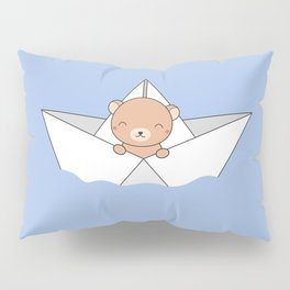 Kawaii Cute Brown Bear On A Boat Pillow Sham