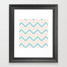 PEACH & BLUE CHEVRON 2 Framed Art Print