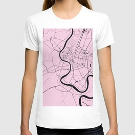Bangkok Thailand Minimal Street Map - Pastel Pink and Black T-shirt