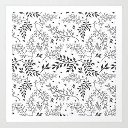 Leaves Illustrated Black & White Art Print