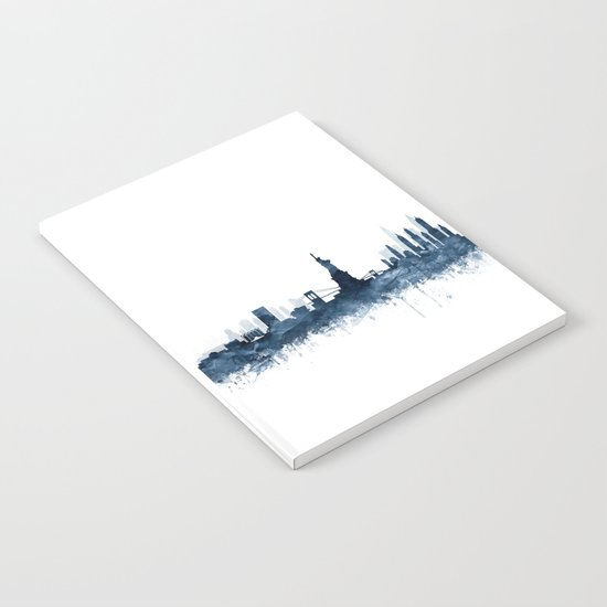 New York City Skyline  Blue Watercolor by zouzounioart by zouzounioart